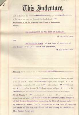 Indenture for property purchase from the Corporation of the Town of Waterloo by Ford S. Kumpf, March 17, 1910