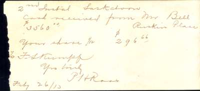 To Ford S. Kumpf from Peter H. Roos forwarding installment payment, February 26, 1913