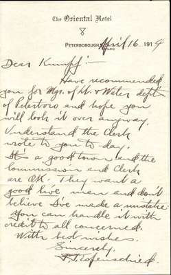 Letter to Ford S. Kumpf from F.J. Esfenschied, April 16, 1914