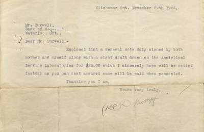Letter to John L. Burwell, Manager of Bank of Montreal from Depew D. Kumpf, November 29, 1926