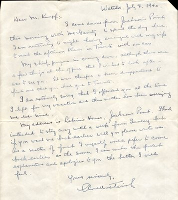 Letter to Ford S. Kumpf from Archibald N. MacTavish, July 8, 1940