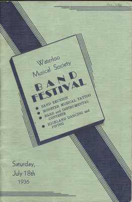 Waterloo Musical Society Band Festival Program, July 18, 1936