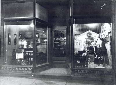J. Letter and Son Furniture and Funeral Directors, Waterloo, Ontario. Christmas Window, 1913