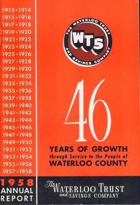 Waterloo Trust and Savings Company Annual Report 1958