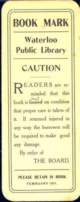 Waterloo Public Library Bookmark, 1911