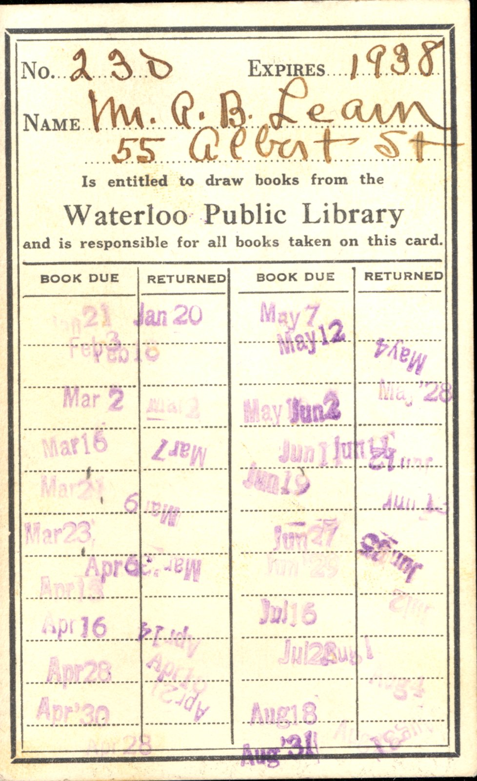Waterloo Public Library Card, 1938