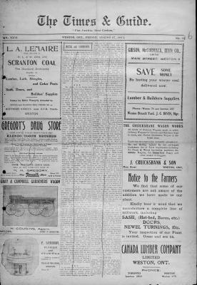 Times & Guide (Weston, Ontario), 27 Aug 1915
