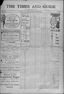 Times & Guide (Weston, Ontario), 10 Sep 1909