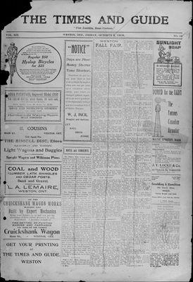 Times & Guide (Weston, Ontario), 8 Oct 1909