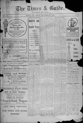 Times & Guide (Weston, Ontario), 19 Nov 1909