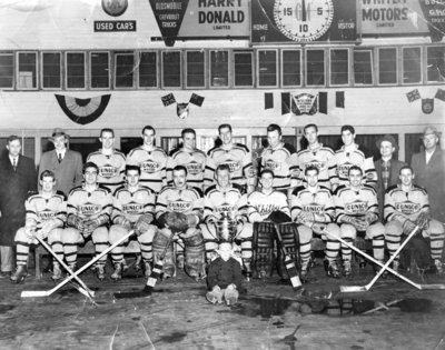 Whitby Dunlops with Senior B Championship Trophy, 1956