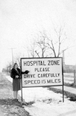 Nurses at Ontario Hospital Entrance, ca.1927