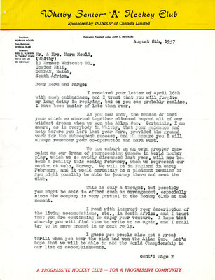 Letter from Wren Blair to Mr. & Mrs. Norm Mould, 1957