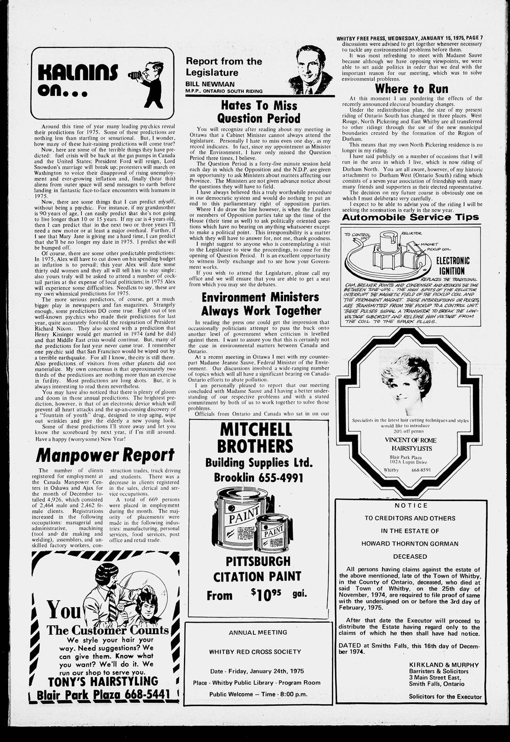 Whitby Free Press, 15 Jan 1975