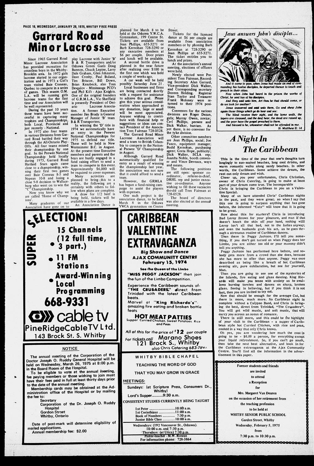 Whitby Free Press, 29 Jan 1975