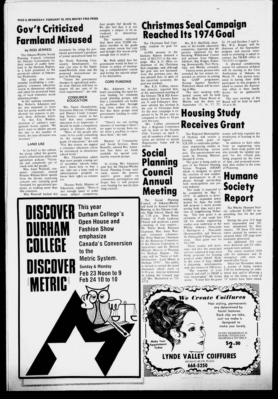 Whitby Free Press, 19 Feb 1975