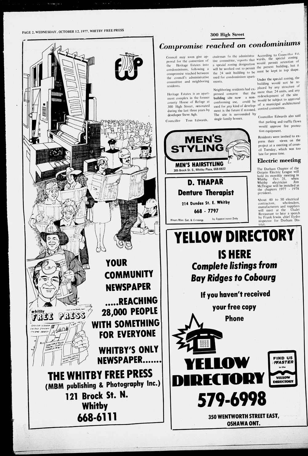 Whitby Free Press, 12 Oct 1977