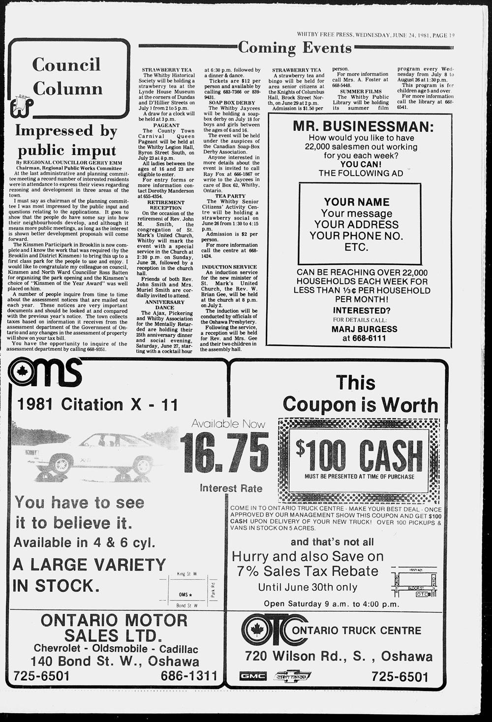 Whitby Free Press, 24 Jun 1981