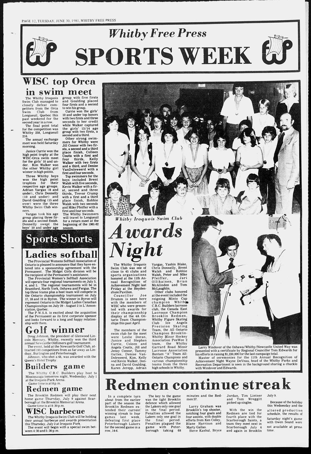 Whitby Free Press, 30 Jun 1981