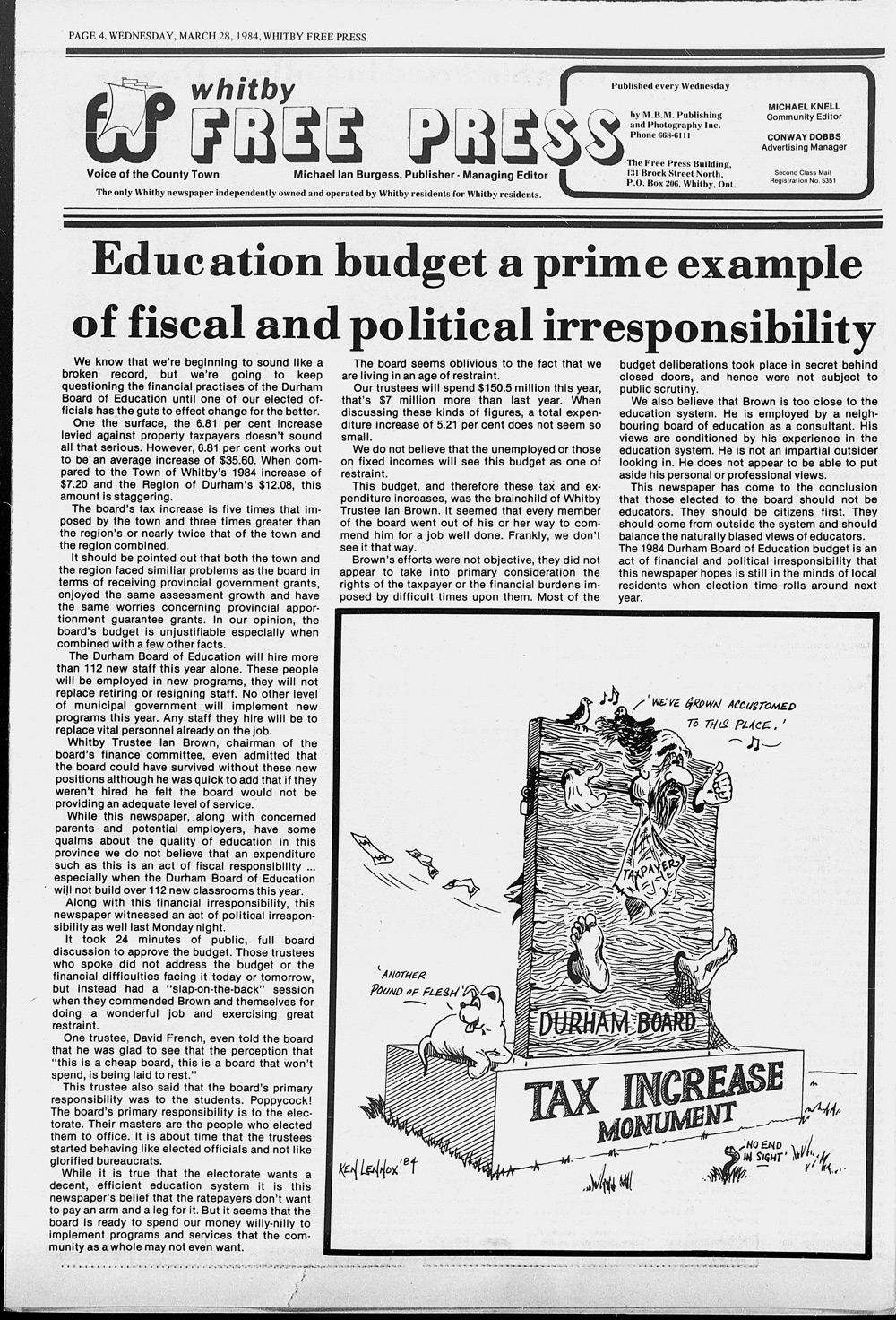 Whitby Free Press, 28 Mar 1984