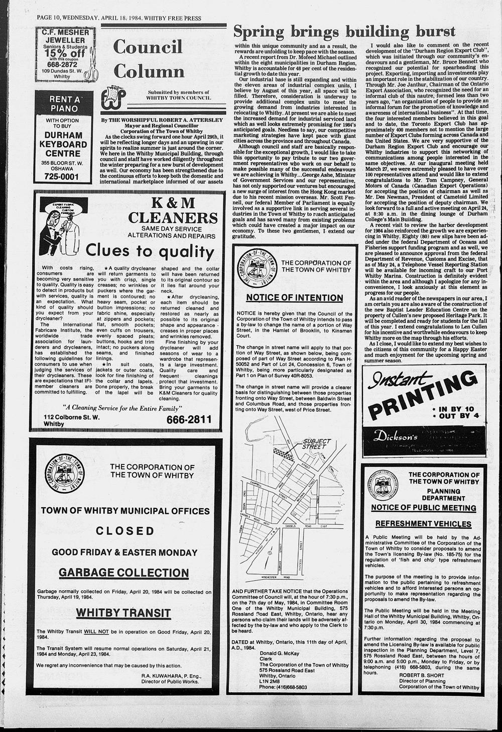 Whitby Free Press, 18 Apr 1984