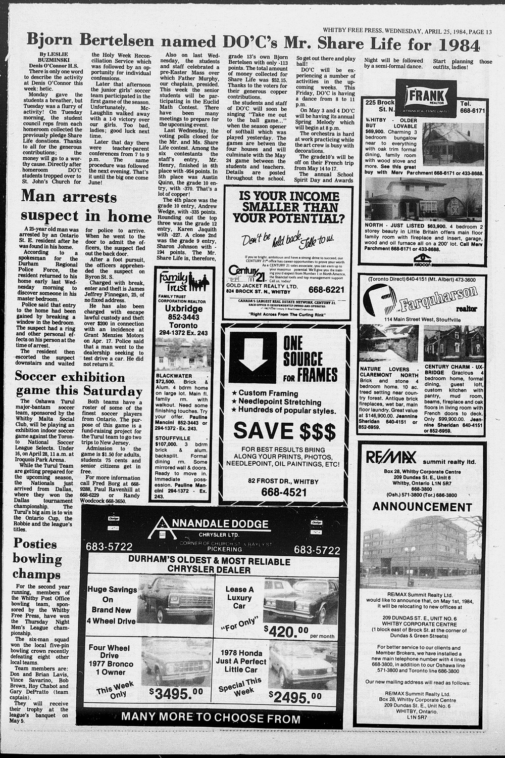 Whitby Free Press, 25 Apr 1984