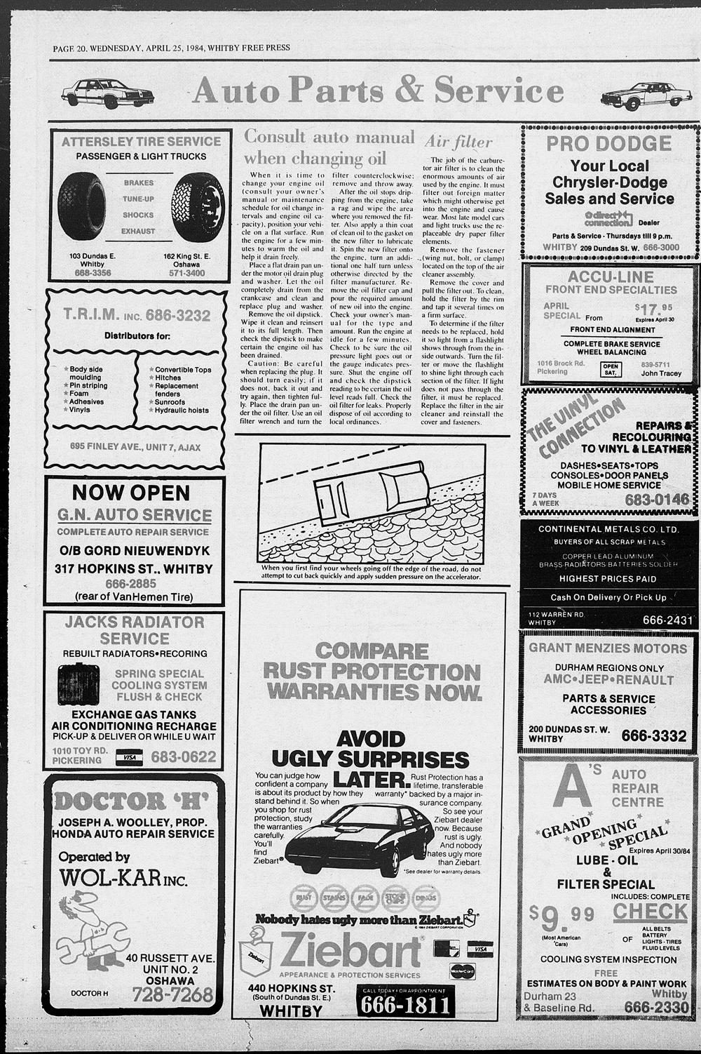 Whitby Free Press, 25 Apr 1984