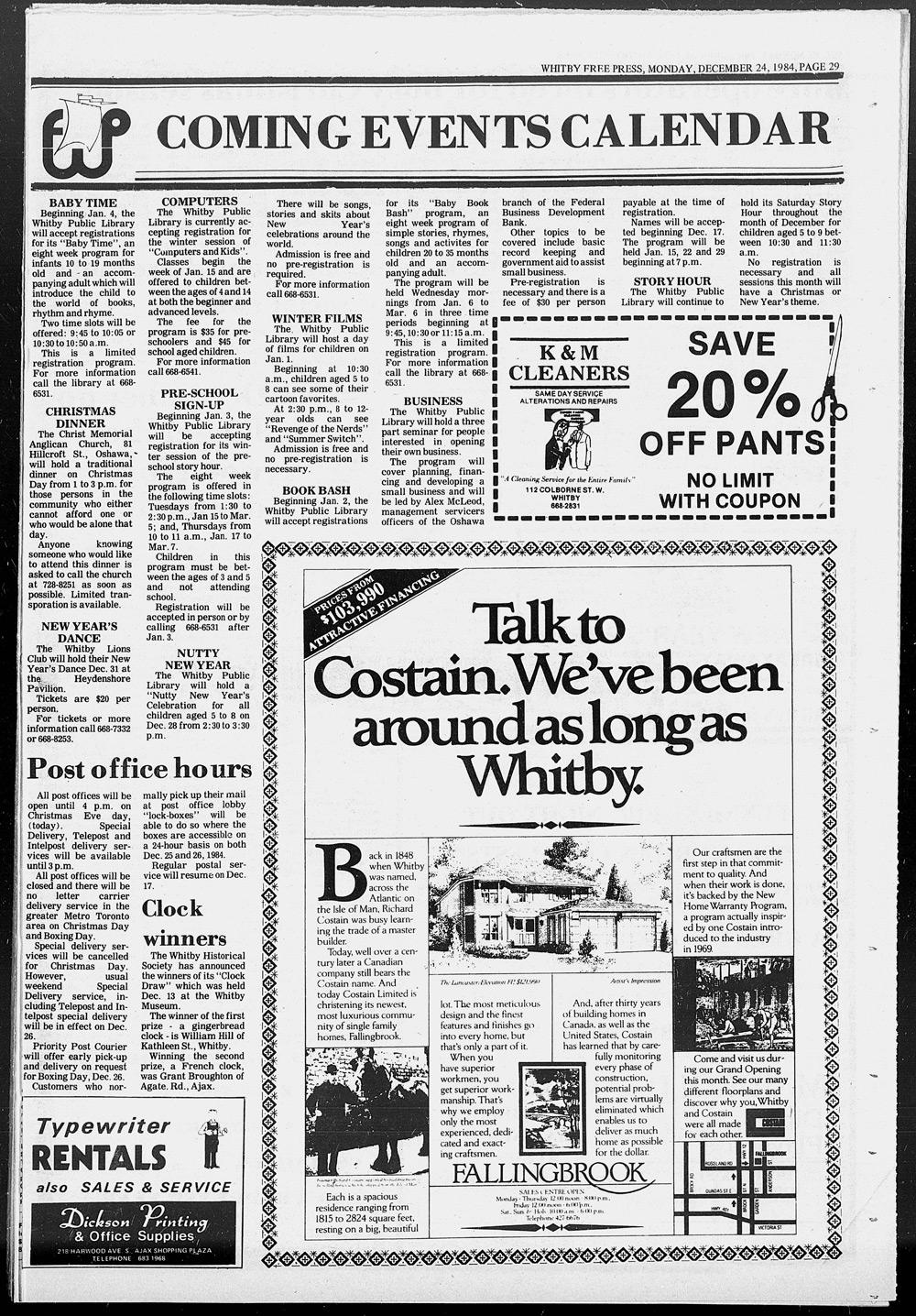 Whitby Free Press, 24 Dec 1984