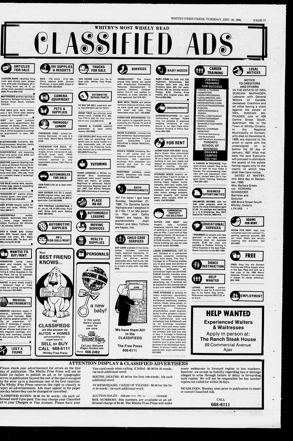 Whitby Free Press, 30 Dec 1986
