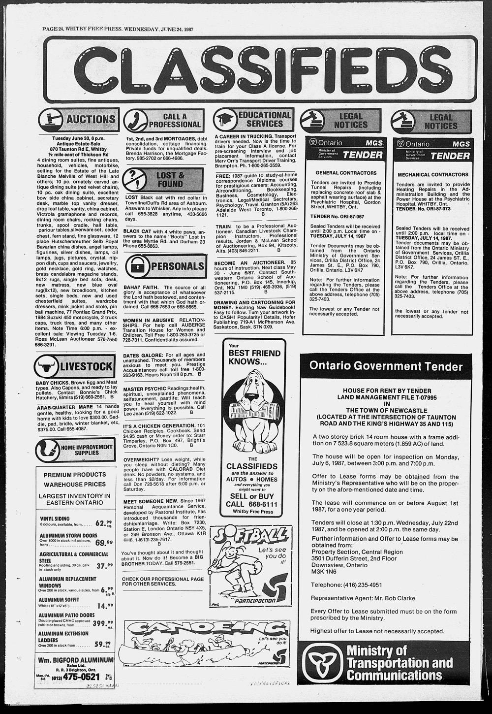 Whitby Free Press, 24 Jun 1987