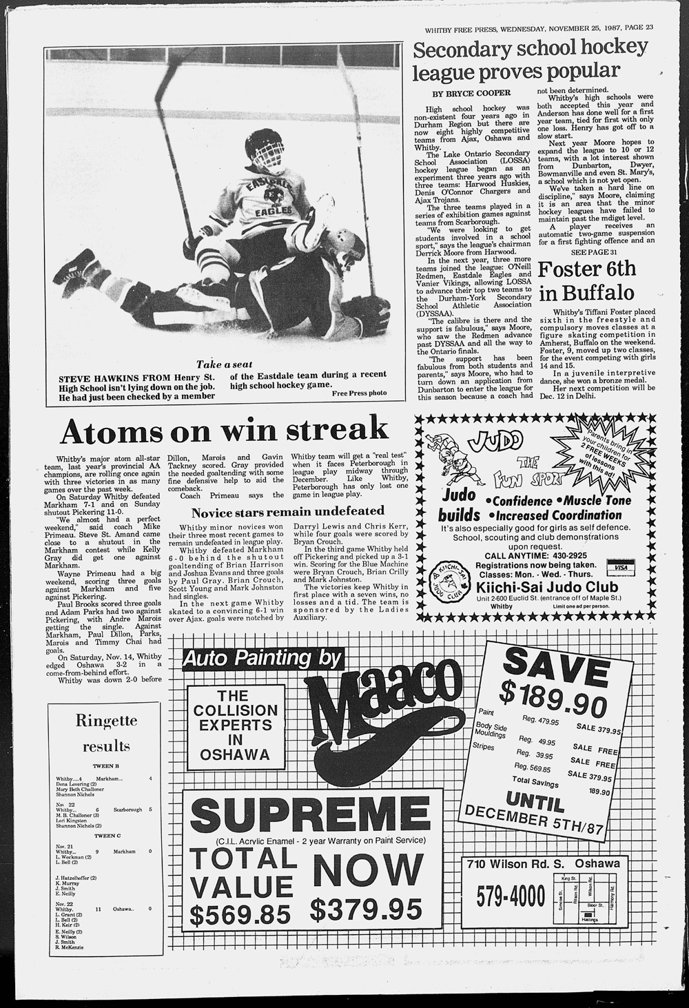 Whitby Free Press, 25 Nov 1987