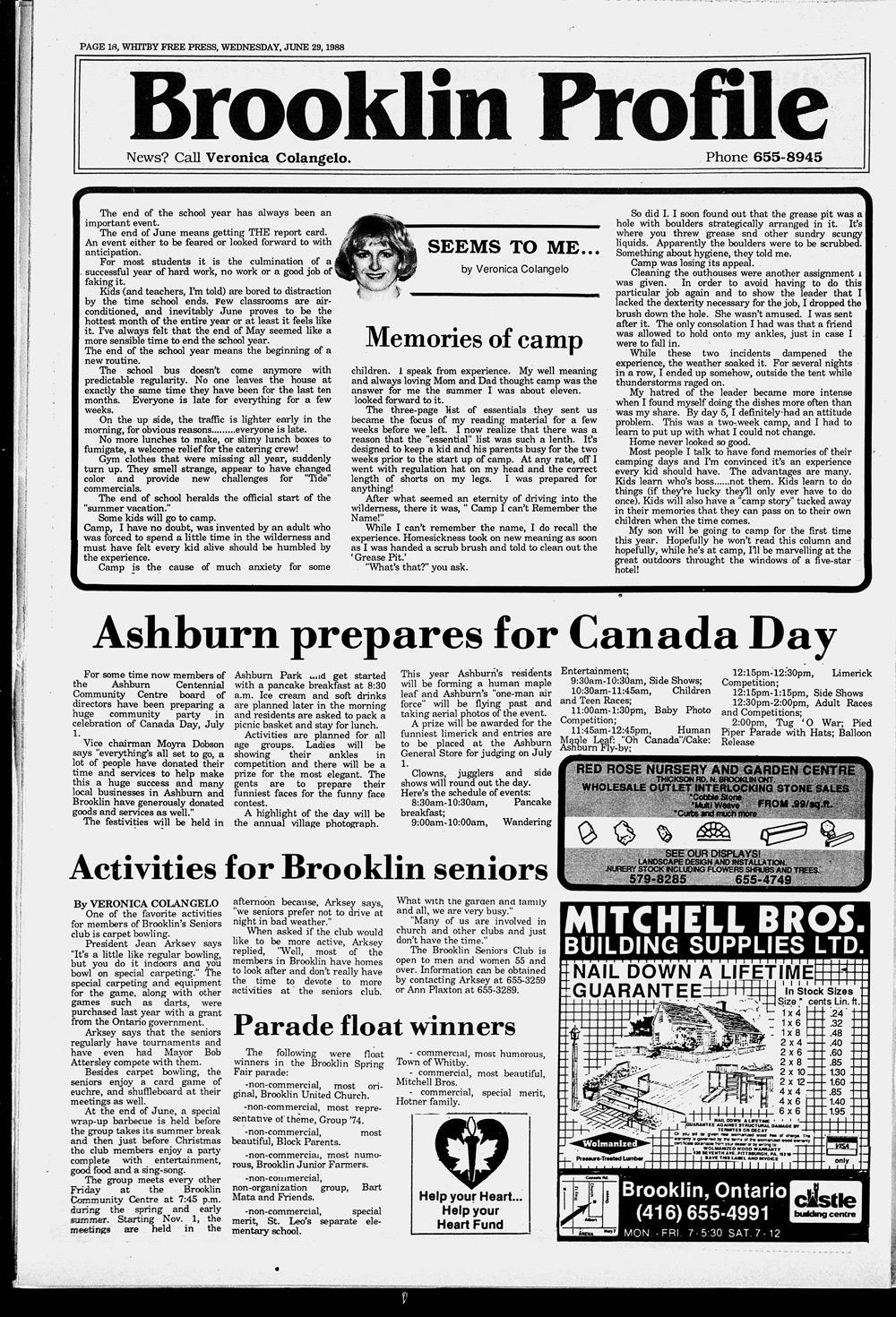Whitby Free Press, 29 Jun 1988