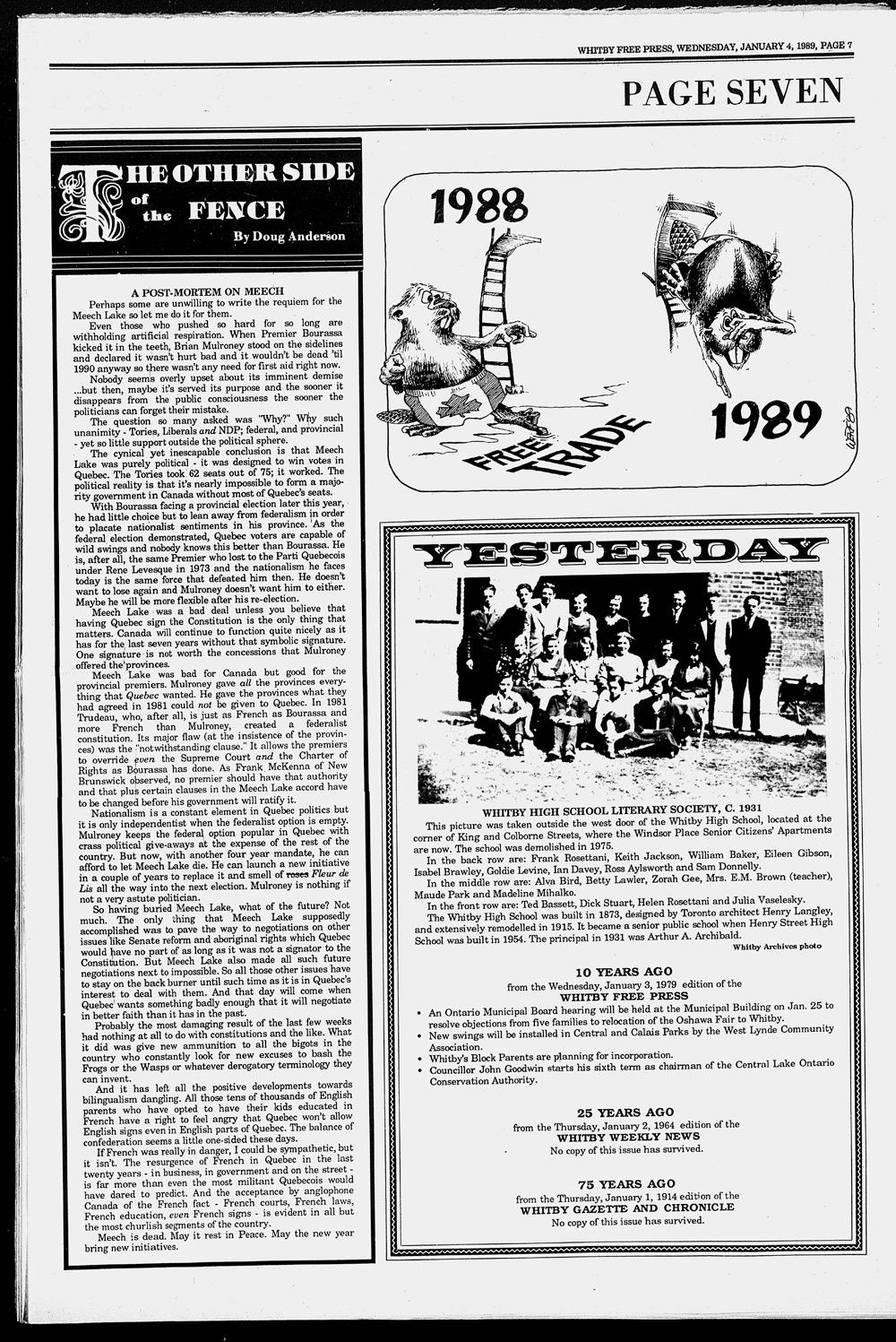 Whitby Free Press, 4 Jan 1989