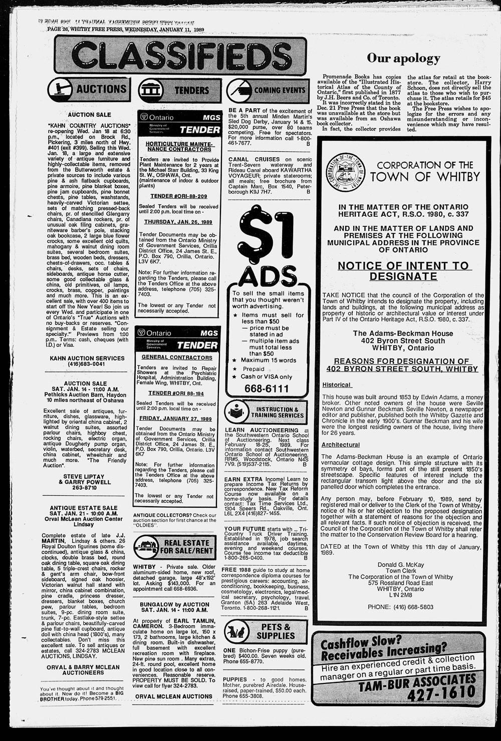 Whitby Free Press, 11 Jan 1989