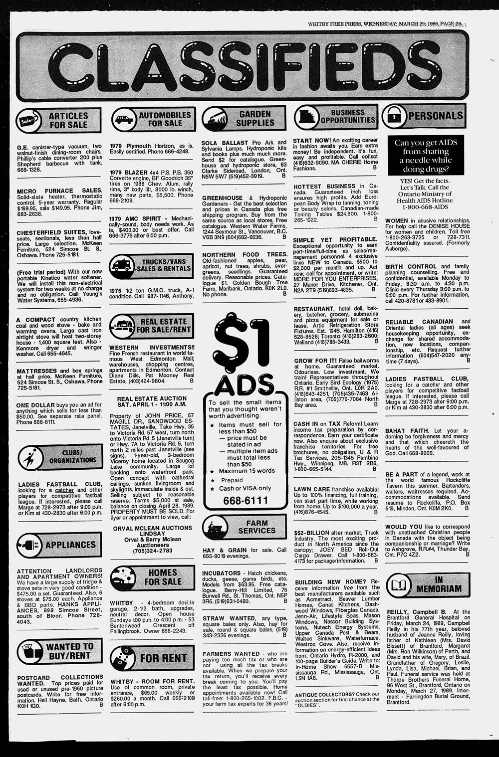 Whitby Free Press, 29 Mar 1989