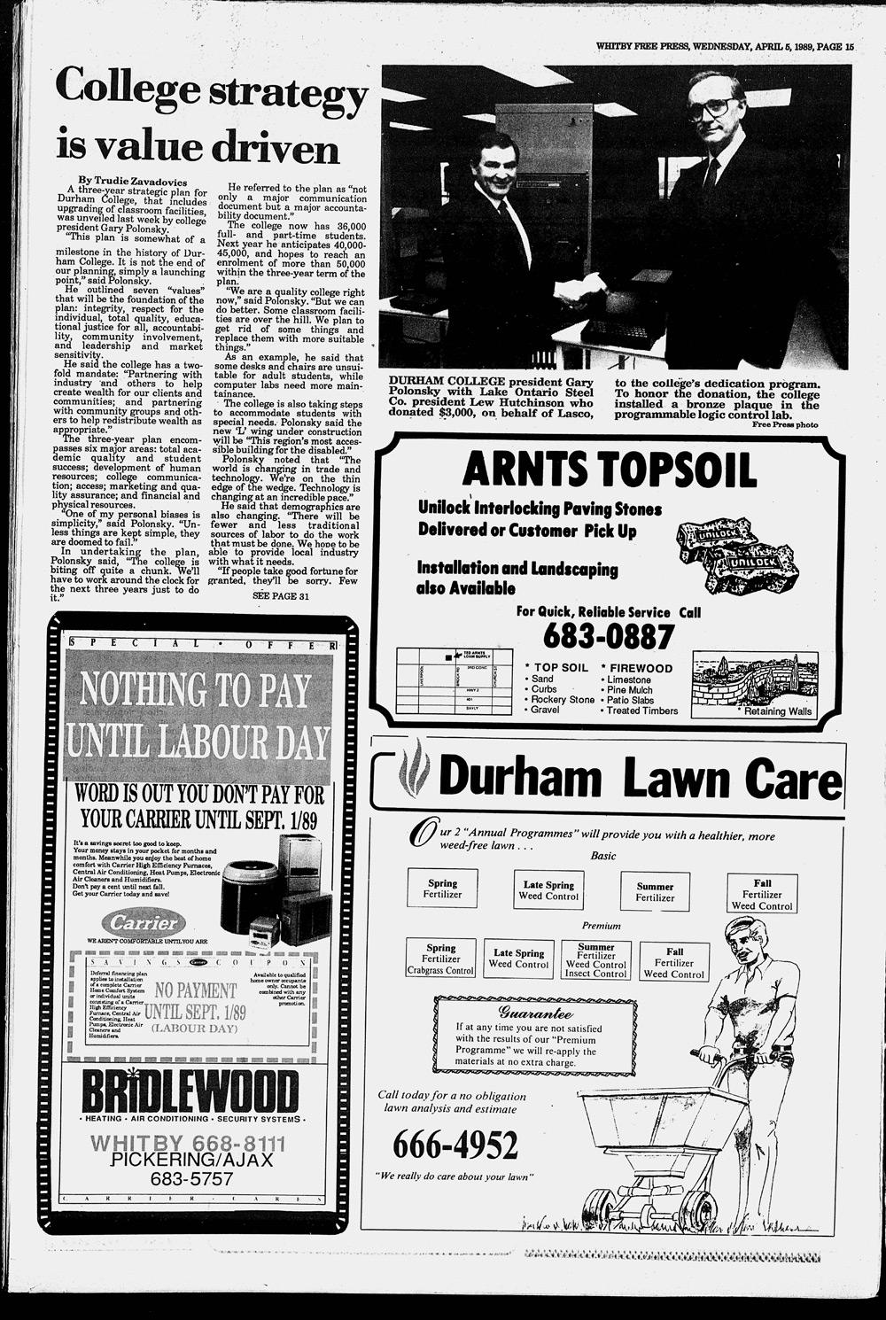 Whitby Free Press, 5 Apr 1989