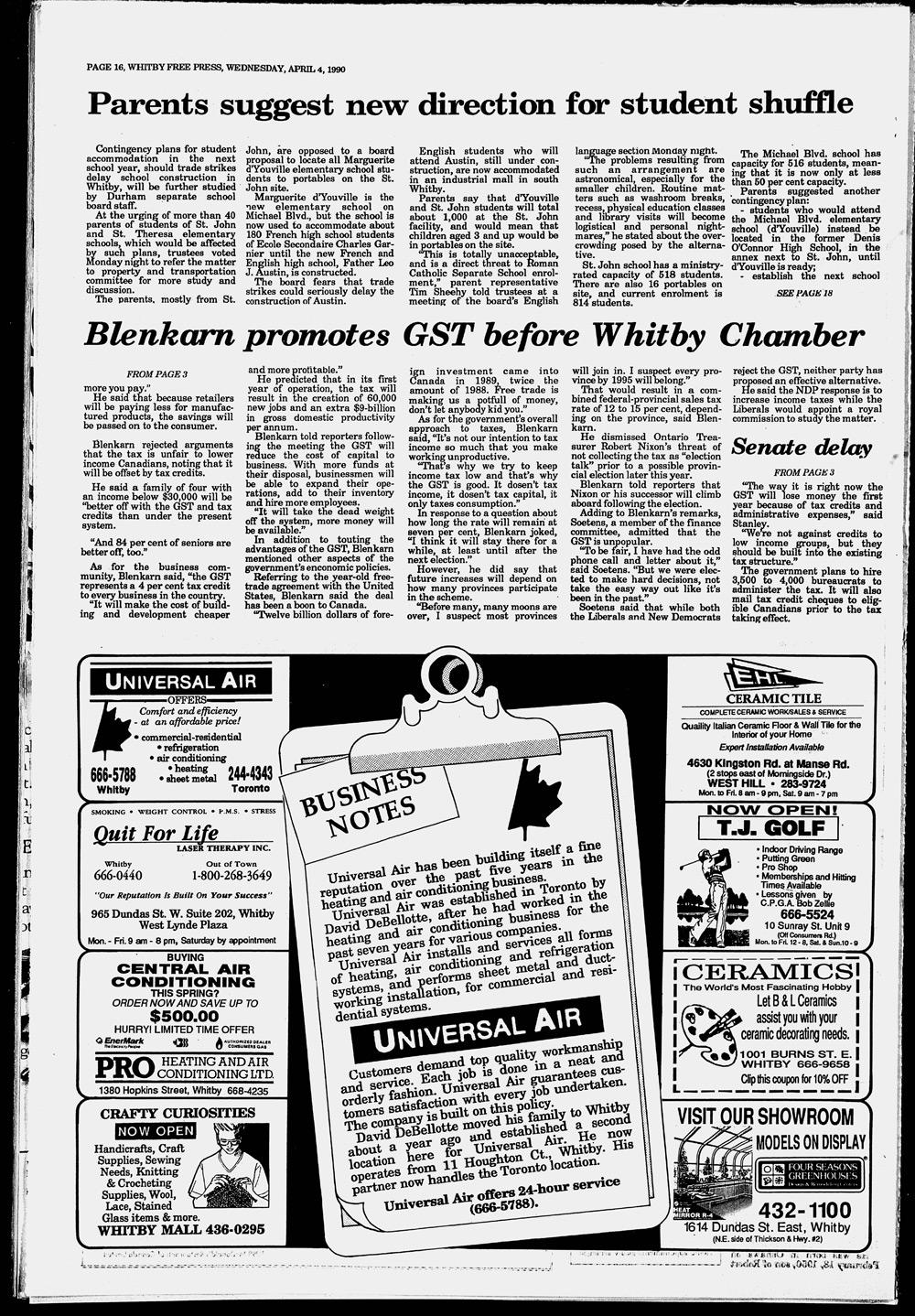 Whitby Free Press, 4 Apr 1990