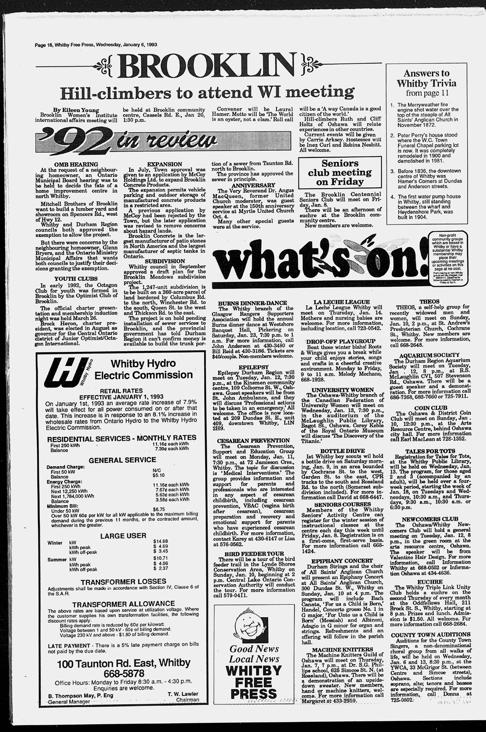 Whitby Free Press, 6 Jan 1993