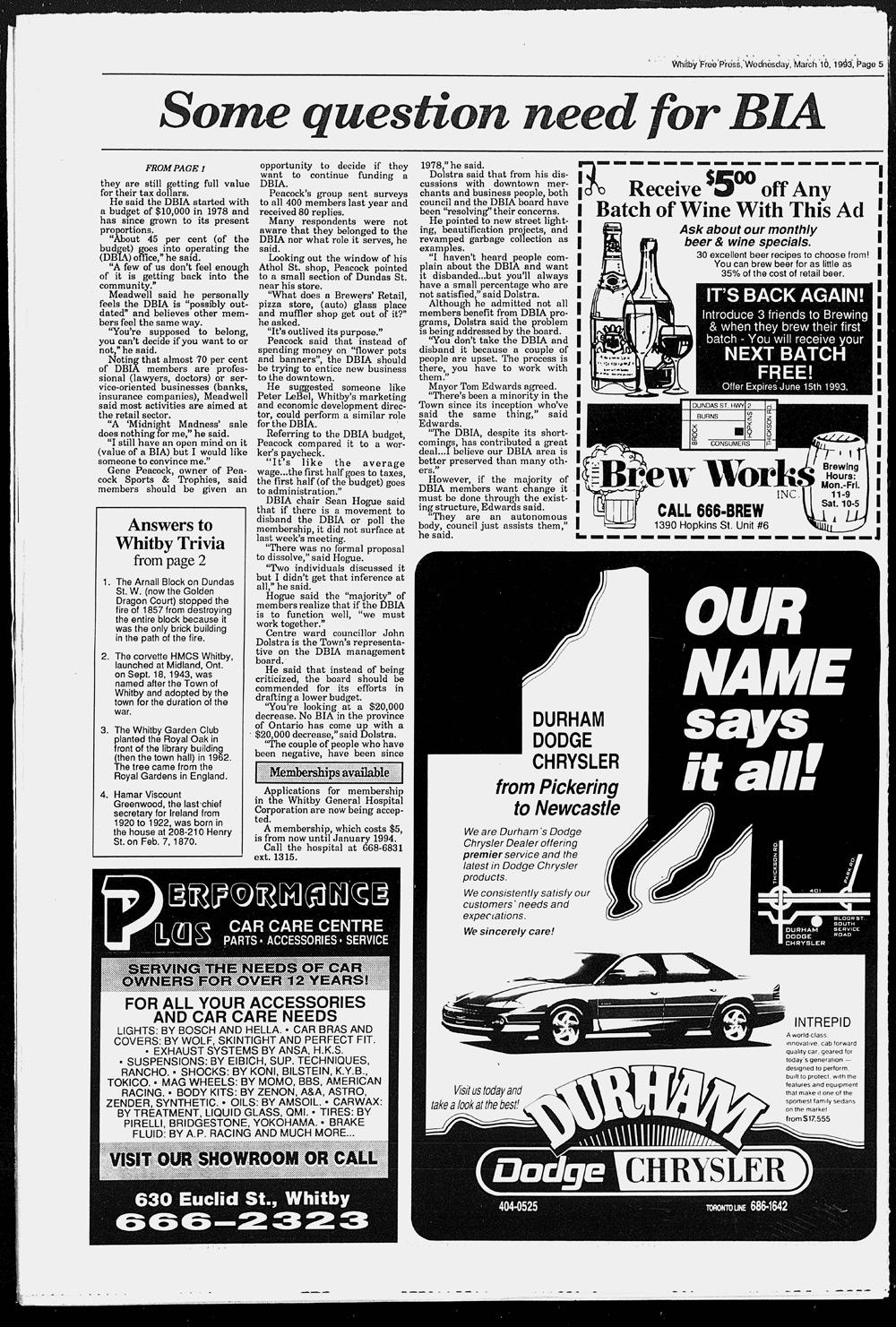 Whitby Free Press, 10 Mar 1993