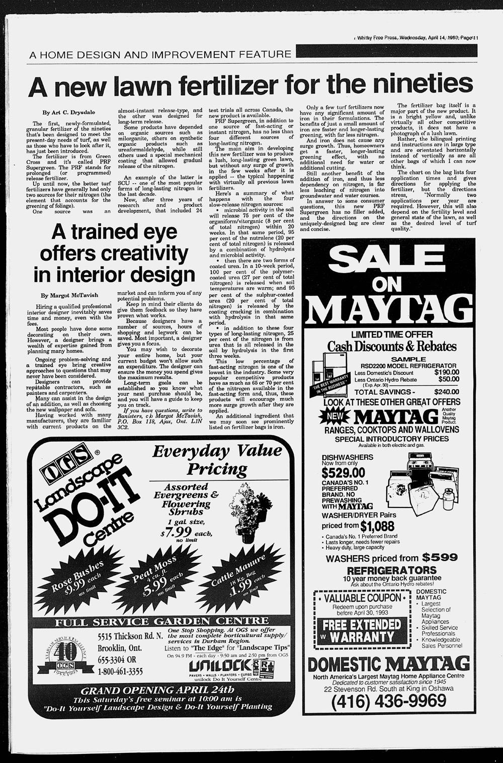Whitby Free Press, 14 Apr 1993