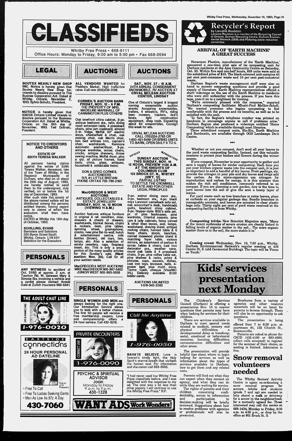 Whitby Free Press, 10 Nov 1993