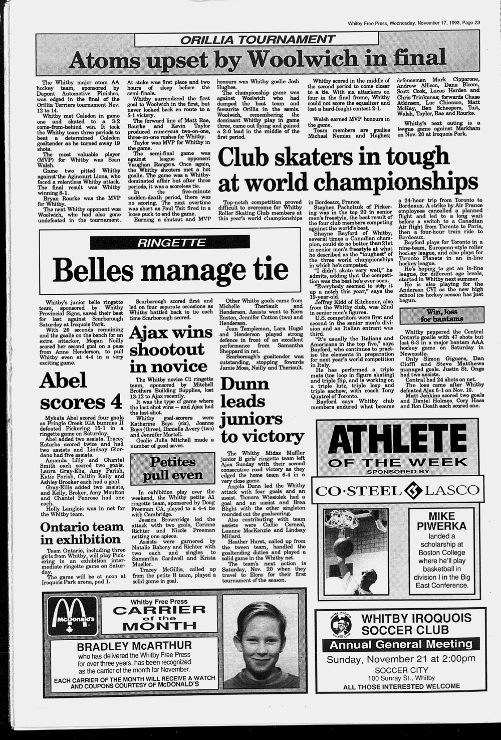 Whitby Free Press, 17 Nov 1993