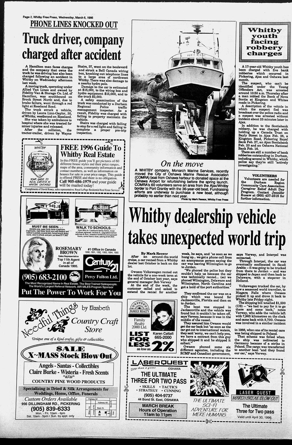 Whitby Free Press, 6 Mar 1996