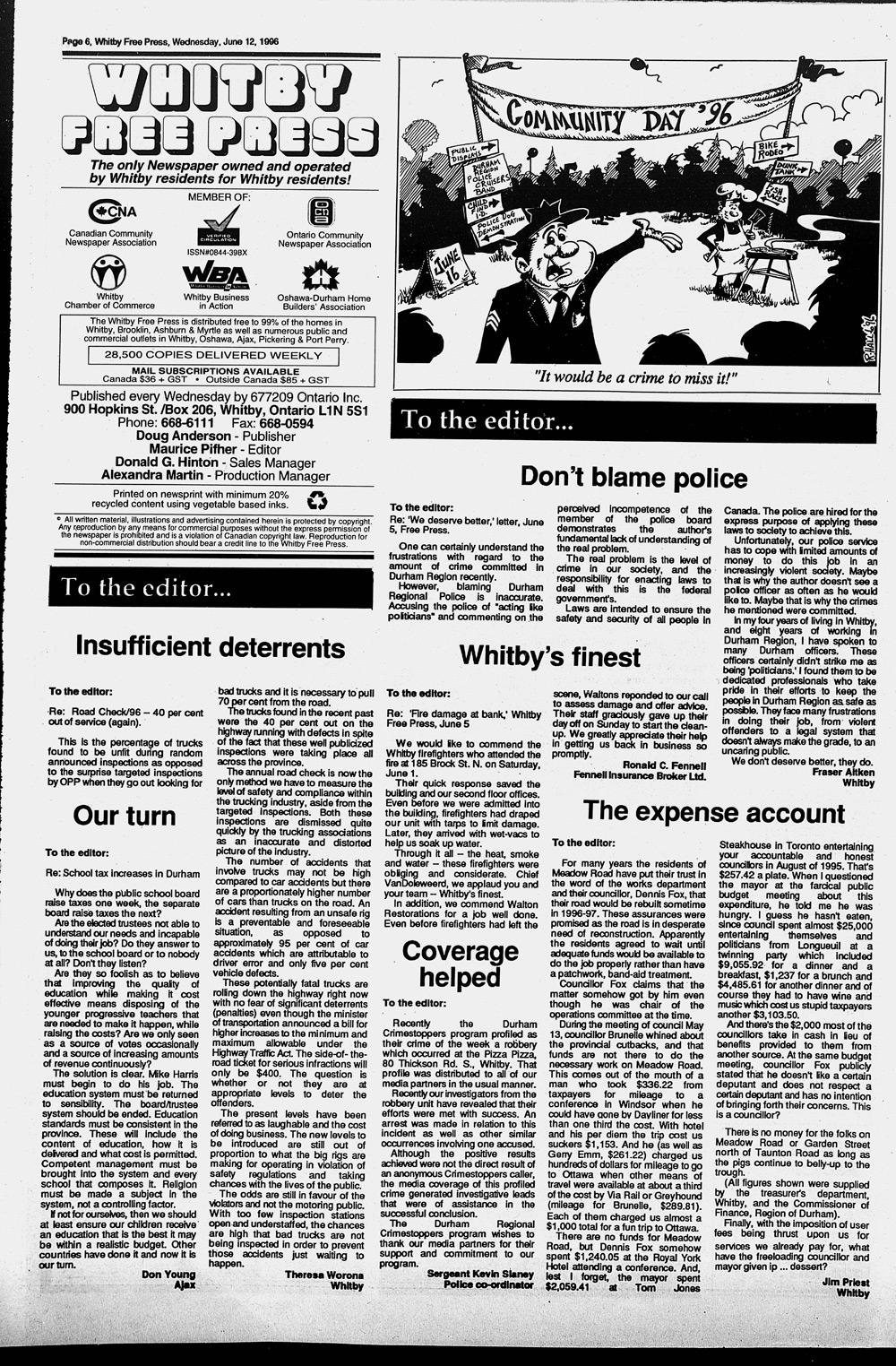 Whitby Free Press, 12 Jun 1996