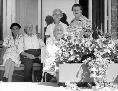 Fairview Lodge Residents on a bench, c. 1952