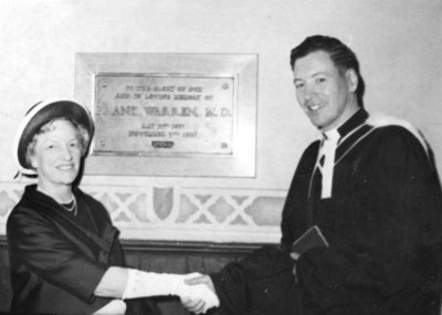 Dr. Frank Warren Plaque St. John's Anglican Church, c. 1965