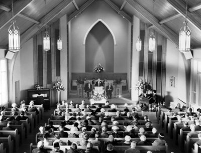 Interior of Faith Baptist Church, November 29, 1959