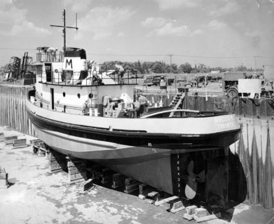 Tug Boat in McNamara Marine Dry Dock, 1960