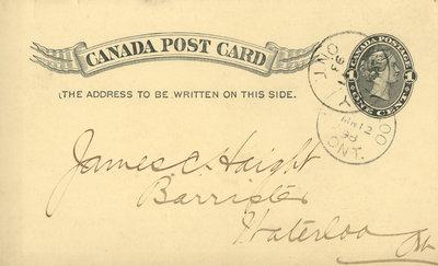 Canada Post Card, c. 1898