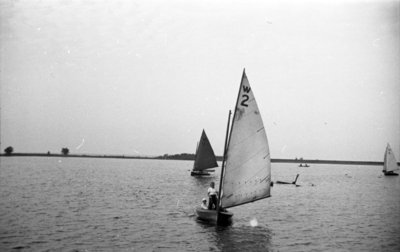 Sailboats on Whitby Harbour, 1937